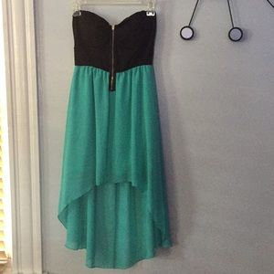 Deb Aqua/Black strapless Sundress S